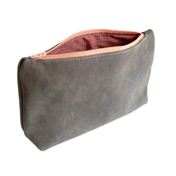 Grey leather zipper pouch Cosmetic bag Makeup case by