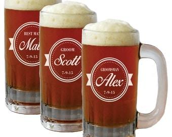 Personalized Beer Mug Glasses, Beer Mugs, Groomsmen Gift, Beer Stein, Etched Beer Mug, Groomsmen Beer Glasses, Groomsmen Beer Mug