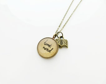 Book Nerd - Brass Handcrafted Inspirational Quote Pendant Necklace with Book Charm