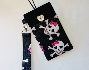 Large Padded Cell Phone IPhone Case Gadget Case Black and Pink Skulls