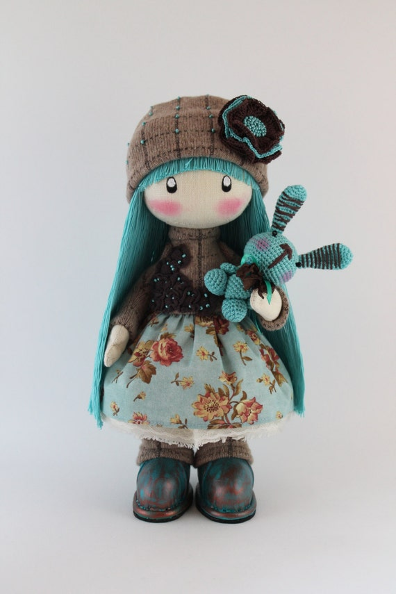 Doll in handmade Zooey rag doll long hair turquoise  interior doll stuffed doll art doll decorative doll home decoration handmade toy