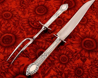 2 Pc. Small Carving Set Oneida Community Plate Rendezvous aka Old South Vintage 1938 Art Deco Silver Plate Flatware Silverware Silverplate
