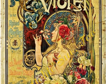 "Grand Prix, 1900 World's Fair Poster, ""Parfumerie Violet  a la Reine des Abelles"" --  ""FRAGRANCE of VIOLETS to the Queen Bee""  by  L. HINGRE"