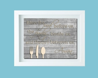 Kitchen Decor Kitchen Art Bless the Food Sign Family Love Quote Taupe Aqua Wall Art Dining Room Decor Thanksgiving Decor Thanksgiving Sign