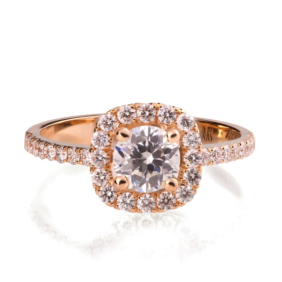 Rose Gold Engagement Ring - 18K Rose Gold and Diamond engagement ring,Halo Ring, unique engagement ring, art deco, edwardian