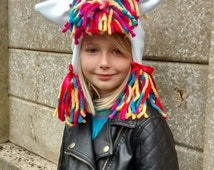 Childrens Handmade Unicorn Winter Hat.  White Fleece with Rainbow Mane.  Fully Lined. Magical Christmas Holiday Gift.  Bright and Pastel