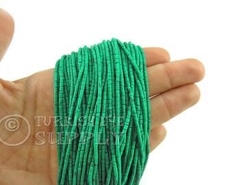 Afghan Beads, 2mm Emerald Green Matrix Heishi Bead Strands Howlite Seed Beads One 1 Full Strand Semiprecious Gemstone Beads, Loose Beads