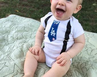 LA Dodgers Baby Onesie and Bibdana Necktie / Bow Tie Suspender