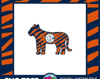 Tiger SVG Monogram SVG College SVG Bengal Tiger Commercial Free Cricut Files Silhouette Files Digital Cut Files svg cut files
