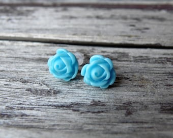 Blue Rose Earrings, Rose stud earrings, Flower earrings, Bridesmaid earrings, Bridal Flower Earrings, Floral earrings, Flower stud earrings