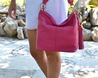 SOFT LEATHER HANDBAG, Pink Leather Shoulder Bag, Soft Leather Purse, Leather Hobo Bag, Everyday Leather Bag, Pink Leather Hobo