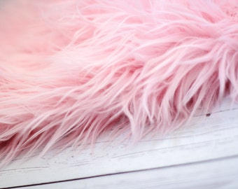 LARGE SIZE 3'x5' Soft Cozy Cuddly Pink Faux Fur Nest Newborn Photography Prop Large Oversize Layer Stuffer Long Pile Faux Flokati