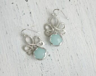 Blue Crystal Earrings Blue Silver Earrings Dangle Blue Drop Earrings Blue Chandelier Earrings Blue Dangle Earrings Bridesmaid Earrings