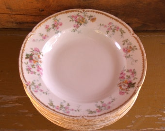 Vintage Set of Eight Limoges Soup Bowls with Pink and Yellow Roses and Gold Edge
