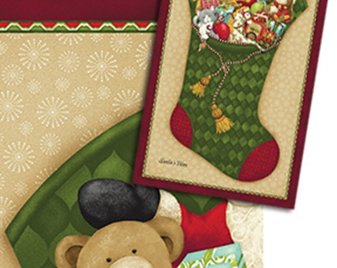 Santa's Here Christmas Stocking Panel in Pine Green - Cotton Quilt Fabric - Inspired by Nancy Halvorsen for Benartex - 6070-45 (W2965)