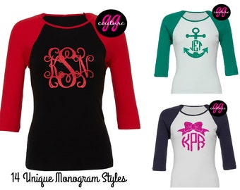 Custom Glitter Monogram Baseball-Style Shirt - Multiple Color Options