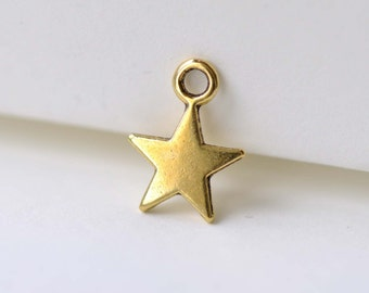 Bulk Antique Gold Star Charms 8x11mm Set of 50 A8047