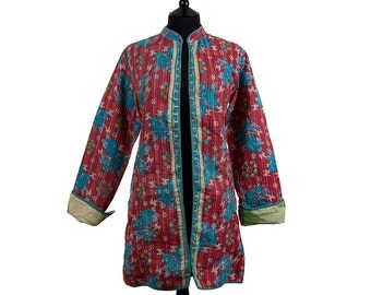 KANTHA JACKET - Medium - Long style - Size 12/14 - Coral and blue. Reverse green and black.