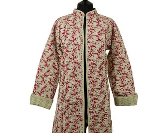 LEAF JACKET - All sizes - Long style - Pale olive green with wine red and off white leaf pattern