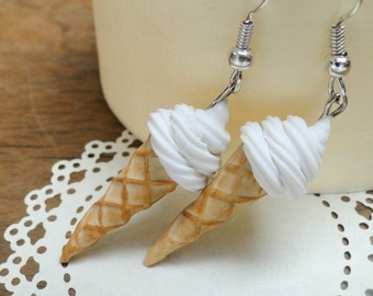 Ice cream Earrings - White Vanilla Swirl - Fimo Food