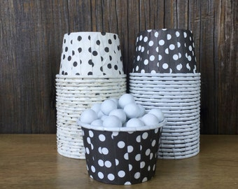 Black and White Paper Snack Cups - Set of 48 - Polka Dot Candy Cup - Birthday Party - Mini Ice Cream Cup - Paper Nut Cup - Same Day Shipping