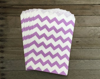 48 Lilac Favor Bags--Chevron Favor Bags--Candy Favor Bag--Chevron Goodie Bag--Lavender Chevron Party Sack--Birthday Treat Sacks