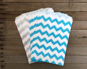 48 Blue Silver Favor Bag--Chevron Favor Sack--Blue and Silver Candy Favor Bag-- Goodie Bag--Party Sack--Birthday Treat Sacks--48 Sacks