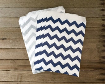48 Navy and Silver Favor Bag--Chevron Favor Sack--Navy and Silver Candy Favor Bag-- Goodie Bag--Party Sack--Birthday Treat Sacks
