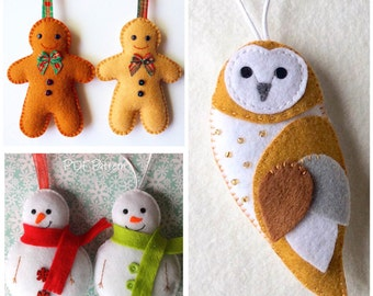 Set of 2 Felt Christmas Ornament Patterns Santa Owl and