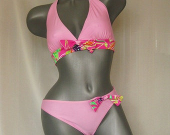 Pink Women Swimwear Beach fashion Swimsuits retro Bikini Two Piece swimsuit in SIZE L