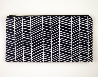 Navy Blue Herringbone Zipper Pouch, Make Up Bag, Pencil Pouch, Gadget Bag