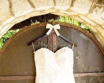 Wedding dress hanger, bridesmaid gift, wedding hanger, bridal hanger, personalized bridal hanger, bridesmaid gifts, name hanger, team bride