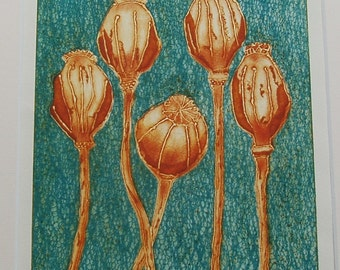 SALE Poppy Seedheads II - An Original Collograph Print