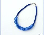 Necklace Blue Bead Crochet, Beadwork - Royal Blue - Art to wear. Designer jewelry. Cobalt, Blue, Stylish Necklace, Ready to ship.