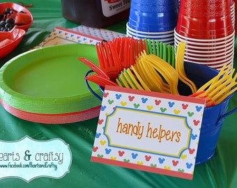 Mickey Mouse Clubhouse Party Table Tents / Food Labels / Place Cards - FILE to PRINT DIY