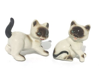 Vintage Porcelain Siamese Seal Point Kittens Figurines Presented by Donellensvintage