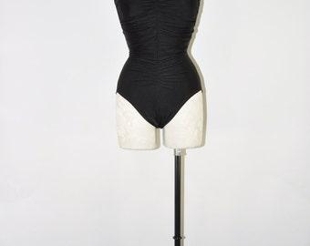 black strapless swimsuit / one piece bathing suit / 90s minimalist maillot / tummy coverage swim suit