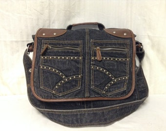Free Ship Studded Denim Messenger bag / Shoulder Bag