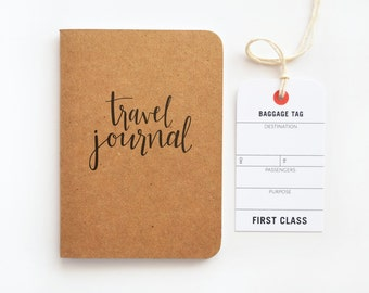 Pocket Travel Journal, Small Calligraphy Travel Notebook | Hand Lettered Traveler's Journal