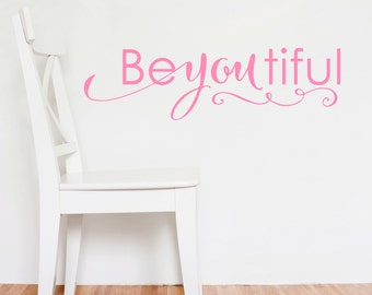 Girls Bedroom Wall Decal Beautiful - Beyoutiful Wall Decal - Girls Bedroom Decor - Vinyl Wall Decal - Vinyl Lettering