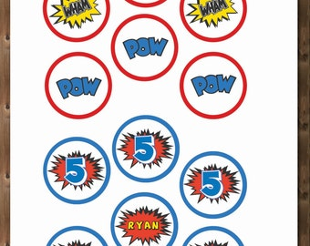 """Personalized Age/Name SUPERHERO Cupcake Toppers!  Printable 2"""""""