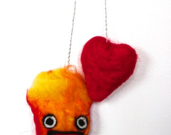 Needle Felted Calcifer with Howl's Heart Car Dangle // Howl's Moving Castle // Mirror Dangle // Fiber Art // Studio Ghibli