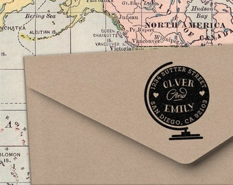 Globe Address Stamp for weddings, return address stamping and customized gift for holidays, housewarming and weddings