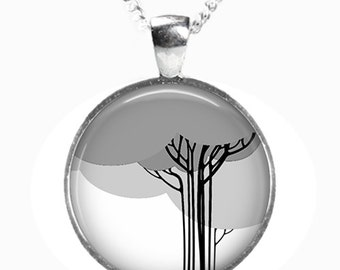 ABSTRACT TREE - Glass Picture Pendant on Chain - Silver Plated (Art Print Photo J17)