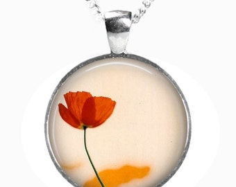 POPPY - Glass Picture Pendant on Chain - Silver Plated (Art Print Photo AC6)