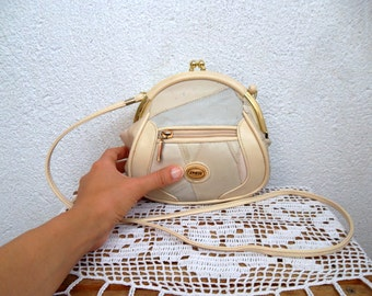 Cream Beige Genuine Leather Small Crossbody Bag With Gold Tone Kiss Lock Closure, Sling Purse With Patchwork Design in White And Tan