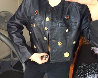 SALE 80s embellished cropped leather jacket