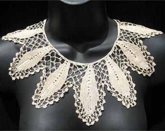 Antique Handmade Ecru Crochet Lace Collar