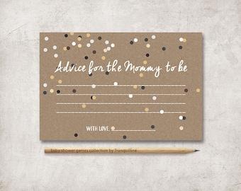Baby Shower Advice Card Printable, Advice for Mom, Baby Shower Games, Advice for the new Mommy, Printable Advice Cards, Digital File
