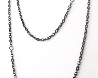 Victorian 60-Inch Gunmetal Chain With (6) Paste Stones
